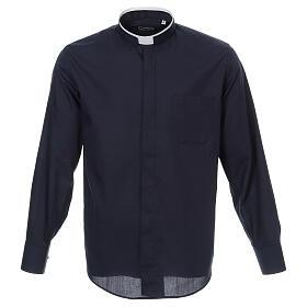 Camisa cuello romano Azul de un solo color M. Larga s1