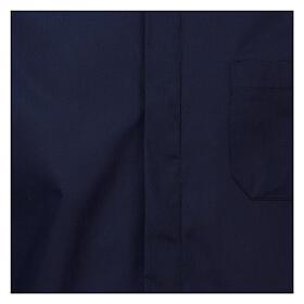 Camisa cuello romano Azul de un solo color M. Larga s2