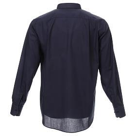 Camisa cuello romano Azul de un solo color M. Larga s3
