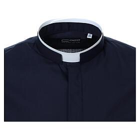 Camisa cuello romano Azul de un solo color M. Larga s5