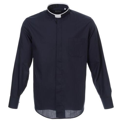 Camisa cuello romano Azul de un solo color M. Larga 1