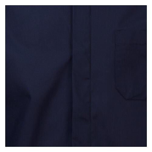 Camisa cuello romano Azul de un solo color M. Larga 2
