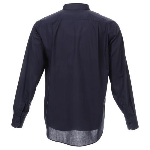 Camisa cuello romano Azul de un solo color M. Larga 3