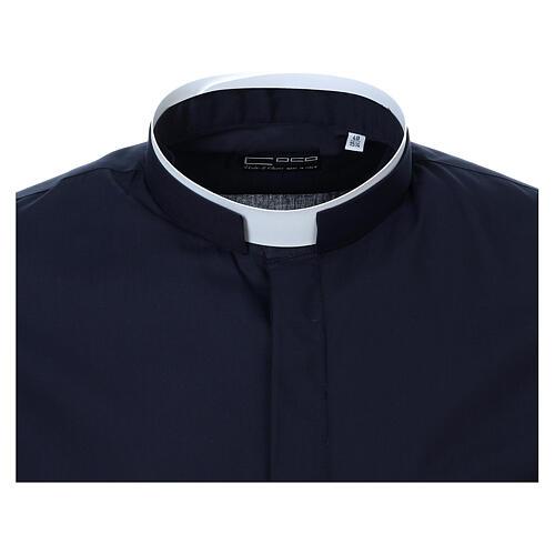 Camisa cuello romano Azul de un solo color M. Larga 5