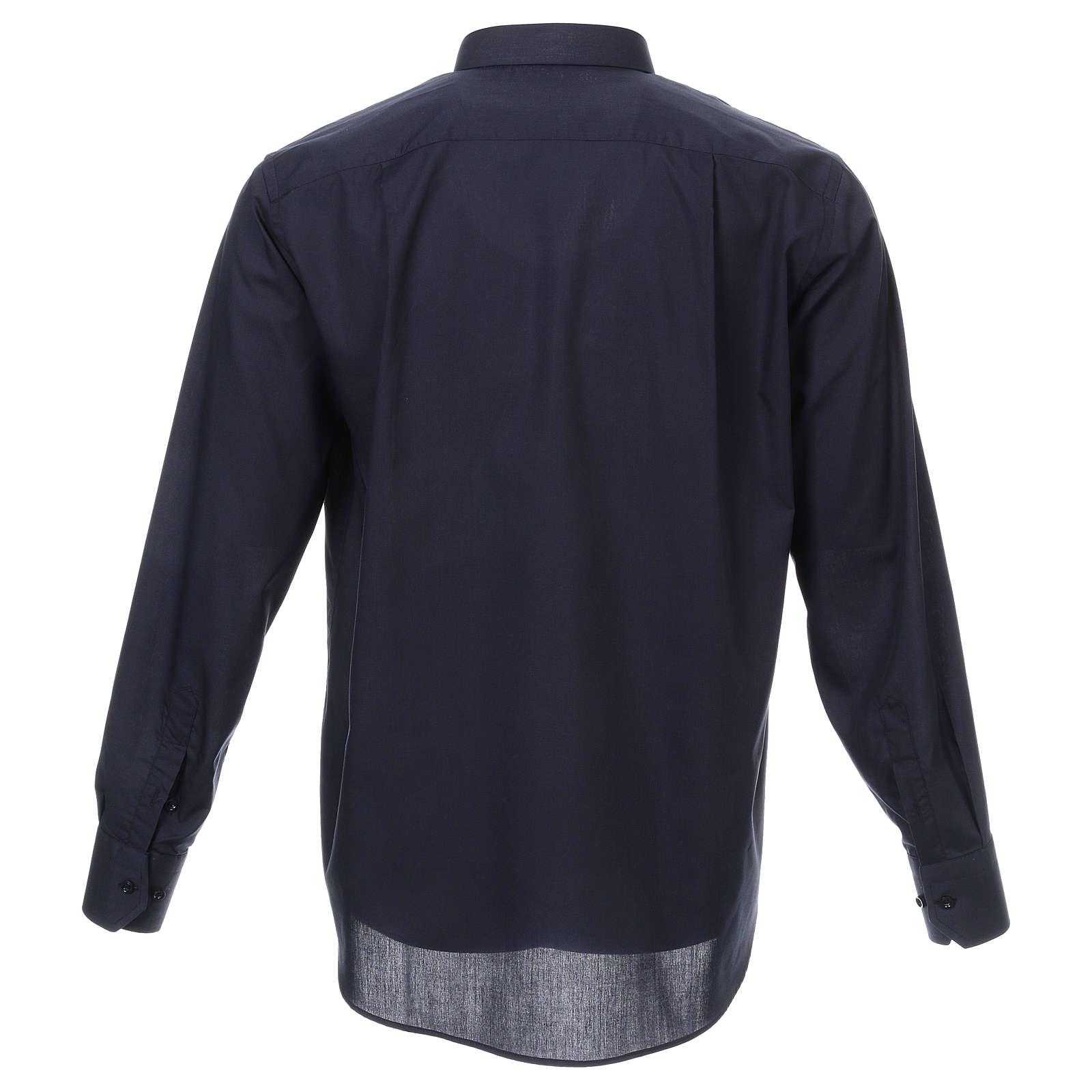Camicia collo romano Blu tinta unita M. Lunga 4