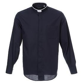 Camicia collo romano Blu tinta unita M. Lunga s1