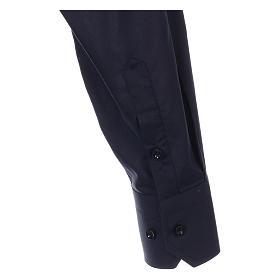 Camicia collo romano Blu tinta unita M. Lunga s4