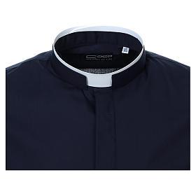 Camicia collo romano Blu tinta unita M. Lunga s5