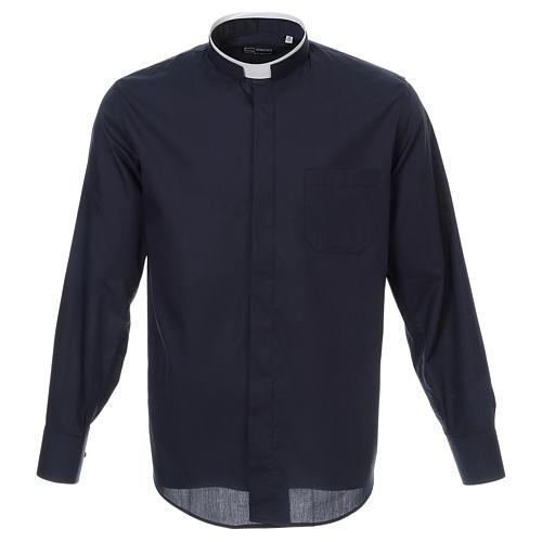 Camicia collo romano Blu tinta unita M. Lunga 1