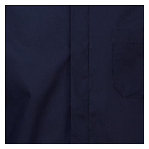 Camicia collo romano Blu tinta unita M. Lunga 2