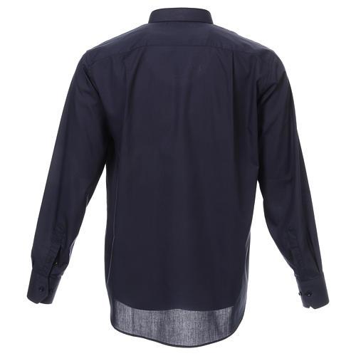 Camicia collo romano Blu tinta unita M. Lunga 3