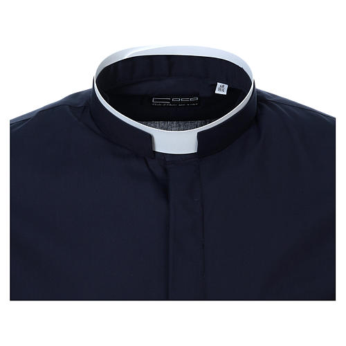 Camicia collo romano Blu tinta unita M. Lunga 5