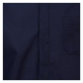 Koszula rzymska kapłańska Granatowa jednolity kolor Długi Rękaw s2