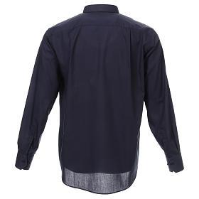 Koszula rzymska kapłańska Granatowa jednolity kolor Długi Rękaw s3
