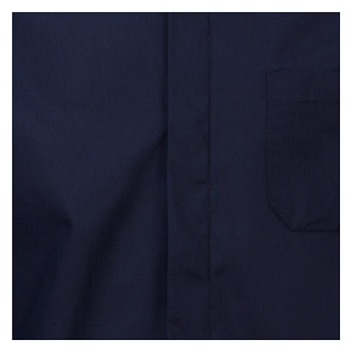 Koszula rzymska kapłańska Granatowa jednolity kolor Długi Rękaw 2
