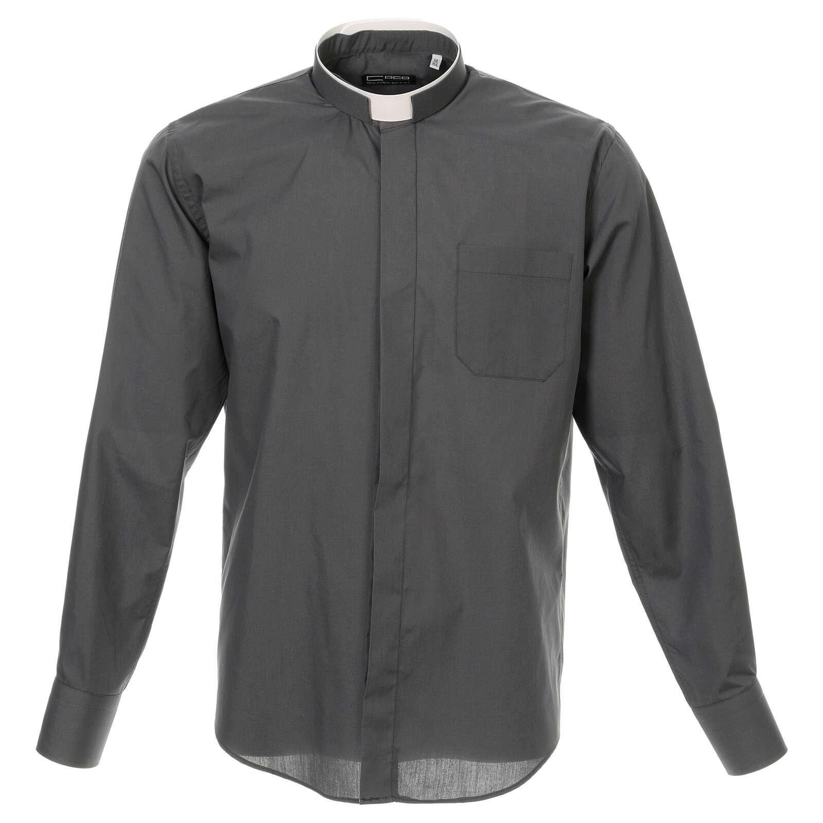 Camisa cuello romano Gris Oscuro de un solo color M. Larga 4