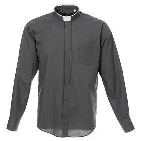 Camisa cuello romano Gris Oscuro de un solo color M. Larga s1