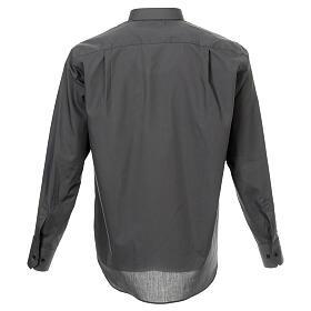 Camisa cuello romano Gris Oscuro de un solo color M. Larga s3