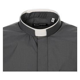 Camisa cuello romano Gris Oscuro de un solo color M. Larga s5