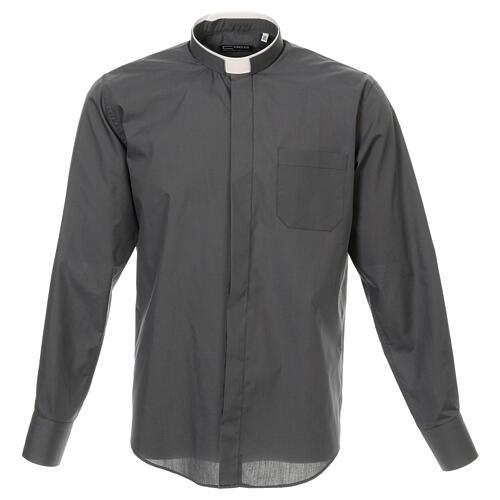 Camisa cuello romano Gris Oscuro de un solo color M. Larga 1