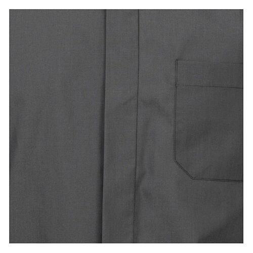 Camisa cuello romano Gris Oscuro de un solo color M. Larga 2
