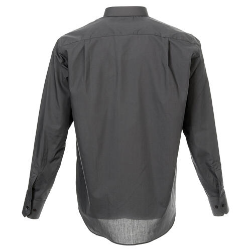 Camisa cuello romano Gris Oscuro de un solo color M. Larga 3