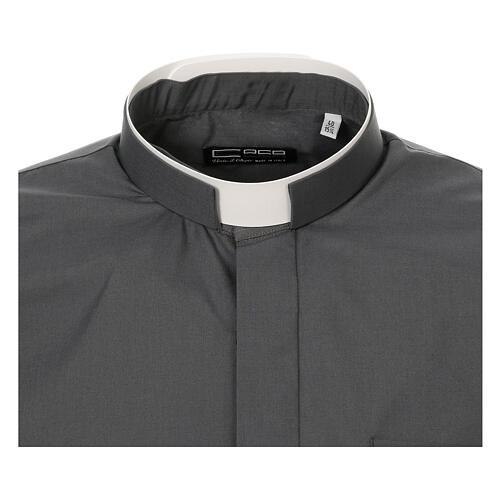 Camisa cuello romano Gris Oscuro de un solo color M. Larga 5