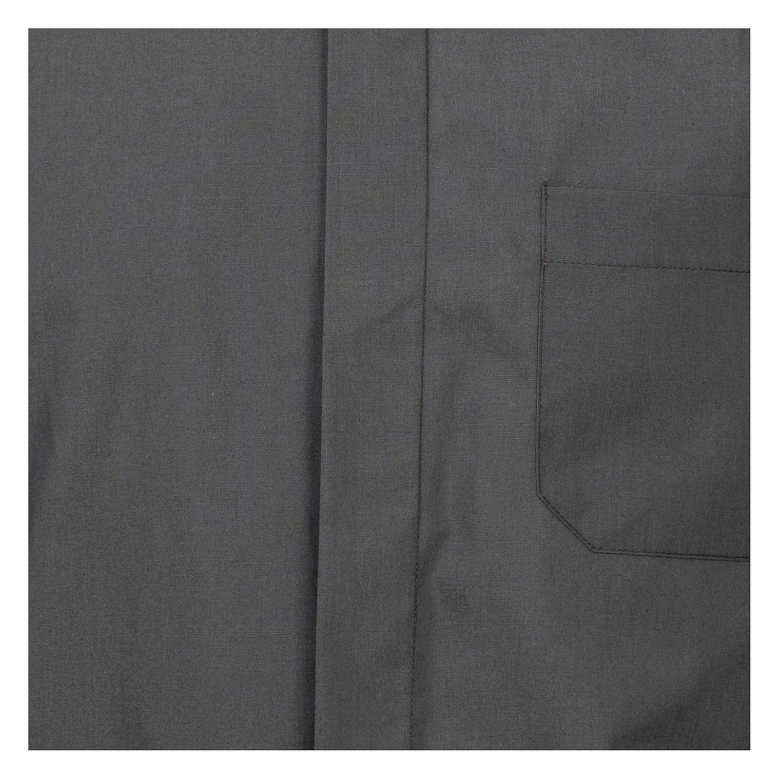 Camicia collo romano Grigio Scuro tinta unita M. Lunga 4
