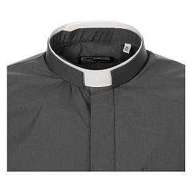 Camicia collo romano Grigio Scuro tinta unita M. Lunga s5
