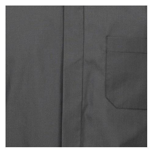 Camicia collo romano Grigio Scuro tinta unita M. Lunga 2