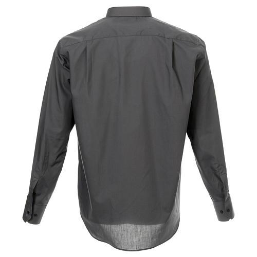 Camicia collo romano Grigio Scuro tinta unita M. Lunga 3