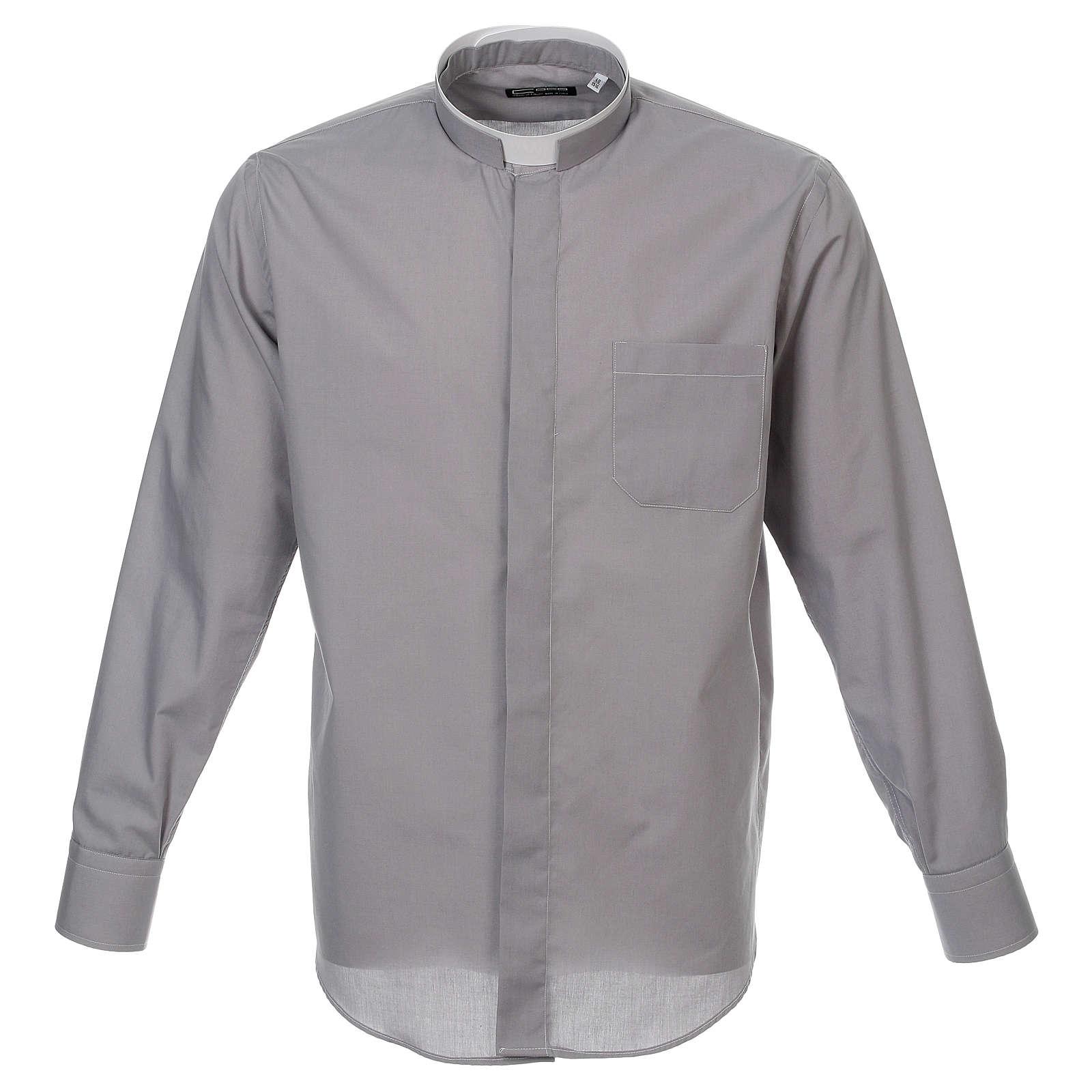 Camicia collo romano Grigio Chiaro tinta unita M. Lunga 4