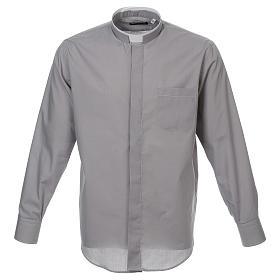 Camicia collo romano Grigio Chiaro tinta unita M. Lunga s1
