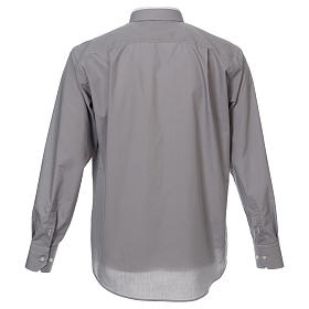 Camicia collo romano Grigio Chiaro tinta unita M. Lunga s3