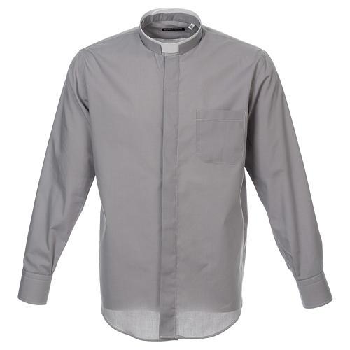Camicia collo romano Grigio Chiaro tinta unita M. Lunga 1