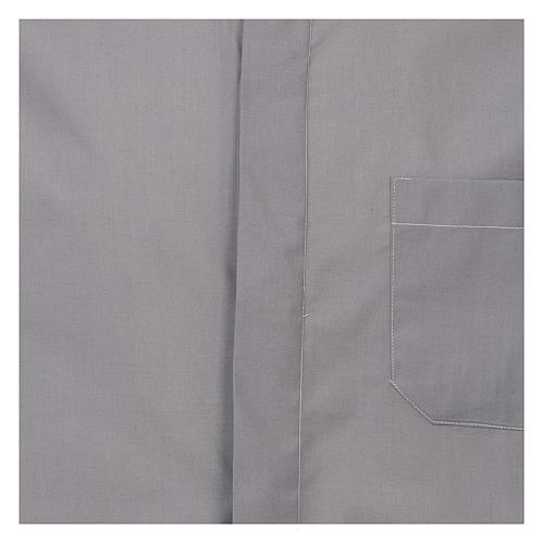 Camicia collo romano Grigio Chiaro tinta unita M. Lunga 2
