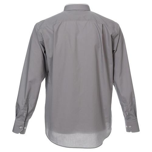 Camicia collo romano Grigio Chiaro tinta unita M. Lunga 3