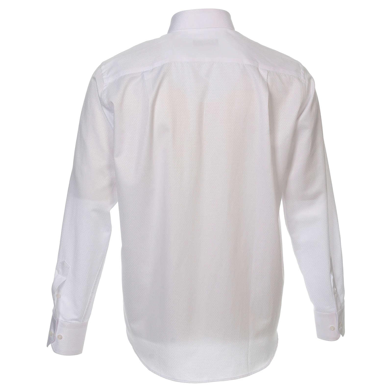 Camicia clergyman diamantino bianco seta M.L. 4