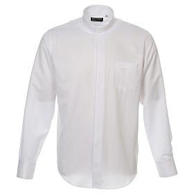 Camicia clergyman diamantino bianco seta M.L. s1
