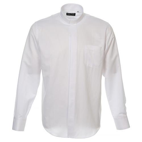 Camicia clergyman diamantino bianco seta M.L. 1