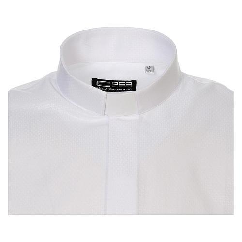 Camicia clergyman diamantino bianco seta M.L. 5
