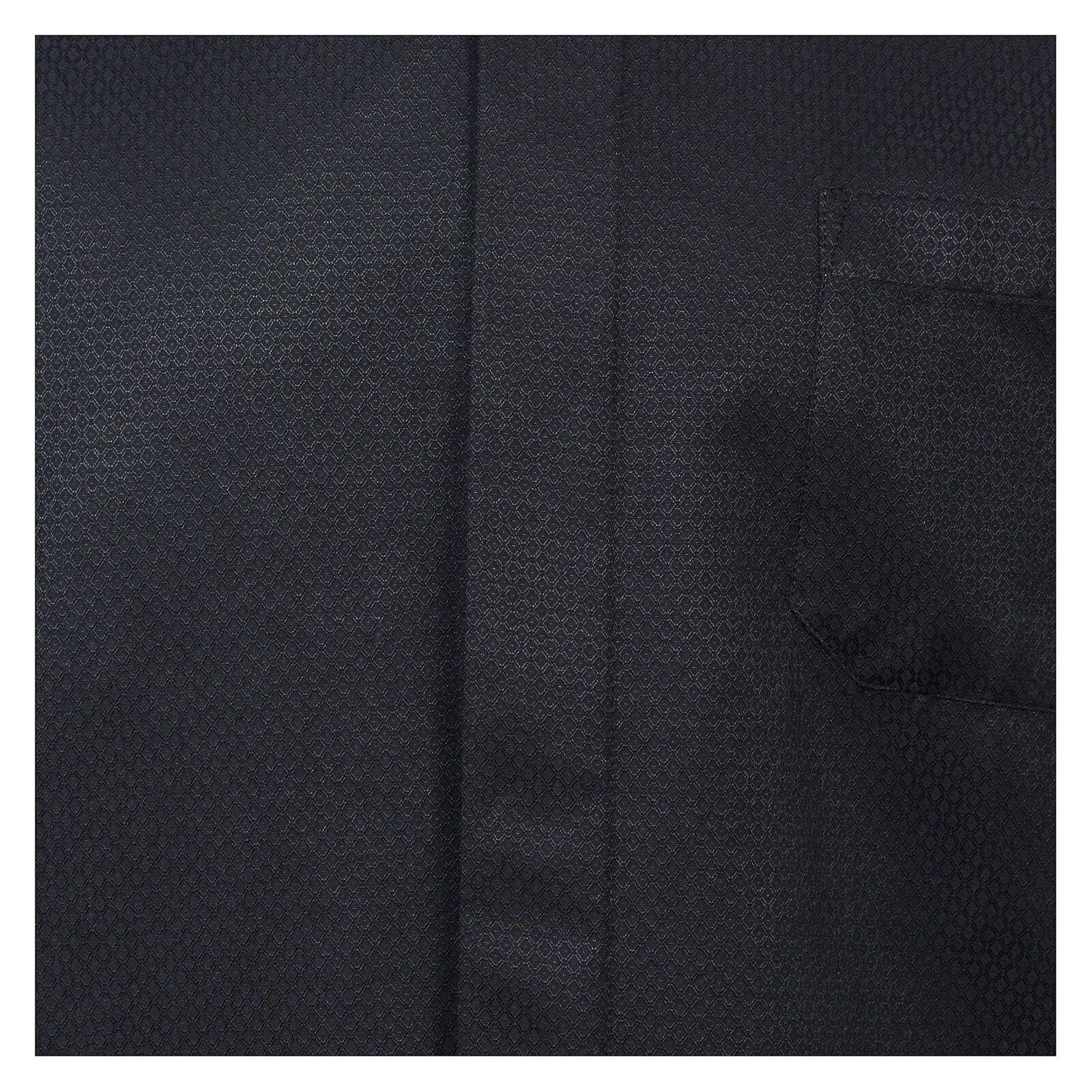 Camisa clergy diamantino nero seda Manga Larga 4