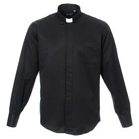 Camisa clergy diamantino nero seda Manga Larga s1