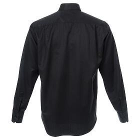 Camisa clergy diamantino nero seda Manga Larga s3