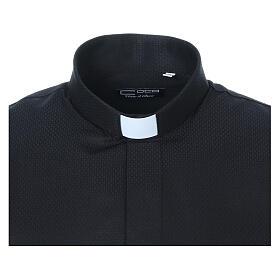 Camisa clergy diamantino nero seda Manga Larga s5