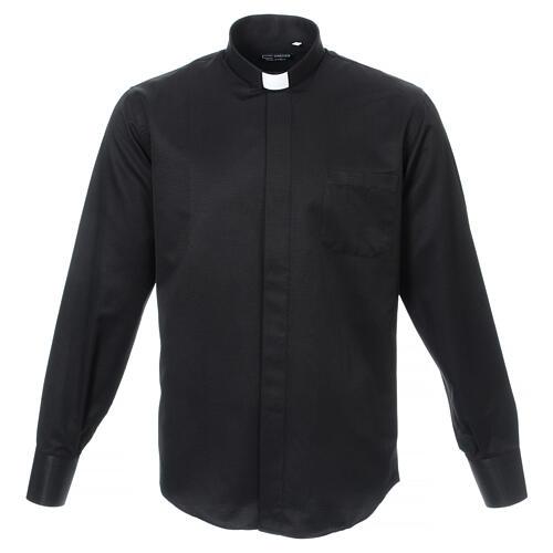 Camisa clergy diamantino nero seda Manga Larga 1