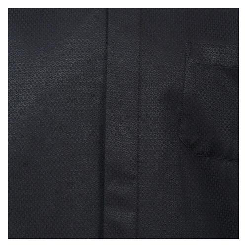 Camisa clergy diamantino nero seda Manga Larga 2