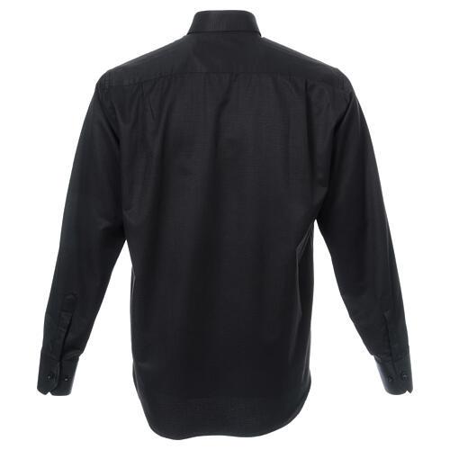 Camisa clergy diamantino nero seda Manga Larga 3