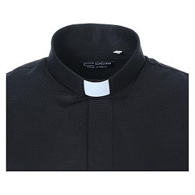 Chemise clergyman diamantino noir soie ML s5