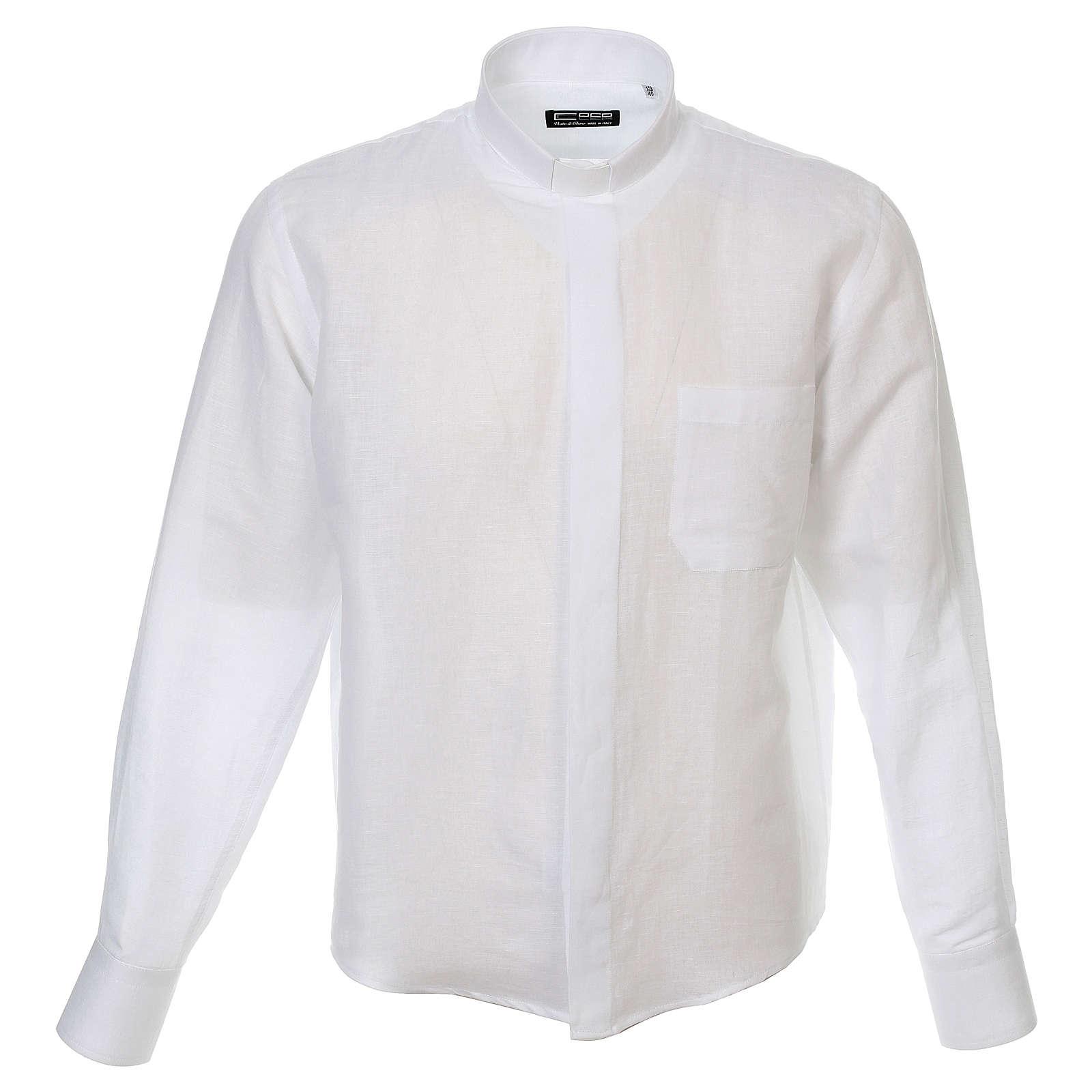 Camicia clergy lino e cotone bianco Manica Lunga 4